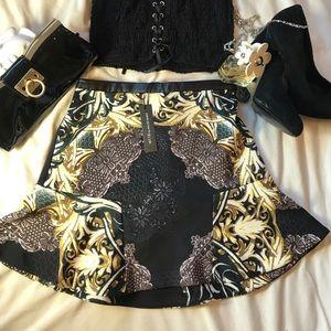 Cute Black Mini Skirt With Golden Designs